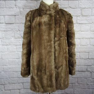 Vintage Hillmoore faux fur 3/4 length lined coat
